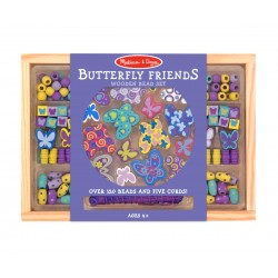 Melissa & Doug Drevené korálky na navliekanie - Motýliky a iné