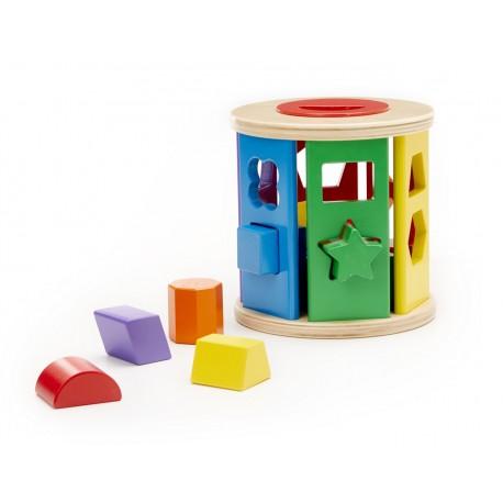 Drevená krabička na vkladanie tvarov - valec farebný