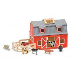 Melissa & Doug Drevená otvárateľná stajňa so zvieratkami