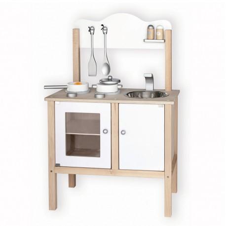 VIGA Detská drevená kuchynka - biela s doplnkami