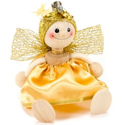 Drevená figúrka na pružinke - Anjelik zlato-žltý