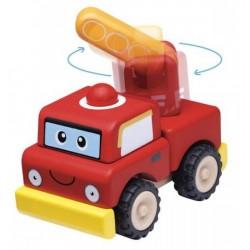 Drevené skladacie autíčko - hasičské