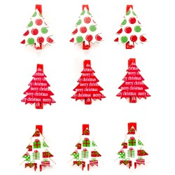 Drevené dekoračné štipce 9 ks - stromčeky