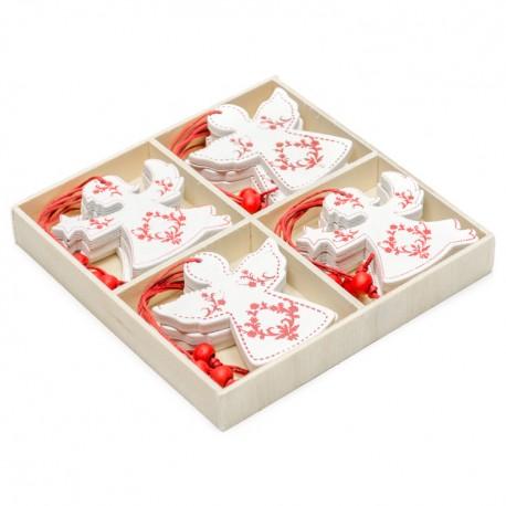 Ozdoby na vianočné stromčeky - anjeliky v drevenej krabičke