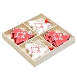 Drevené ozdoby na vianočné stromčeky 12ks - stromčeky v drevenej krabičke