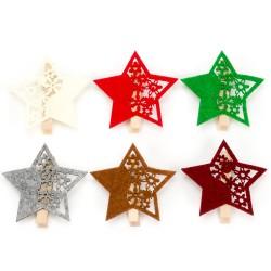 Drevené dekoračné štipce 6 ks - hviezdičky