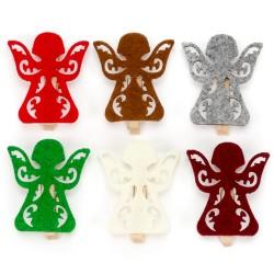 Drevené dekoračné štipce 6 ks - anjeliky