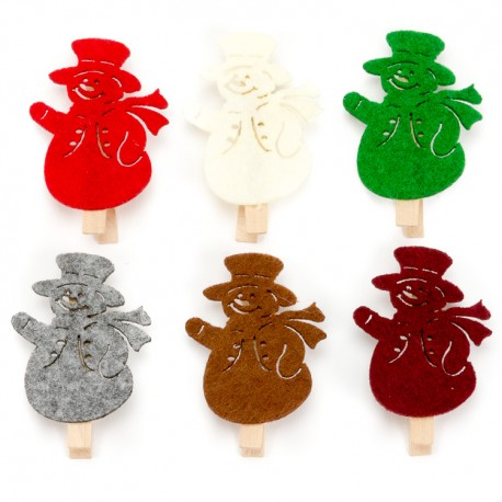 Drevené dekoračné štipce 6 ks - snehuliaci