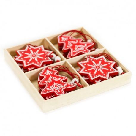 Drevené ozdoby na vianočný stromček 12 ks - snehové vločky a hviezdičky