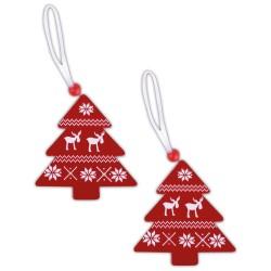 Drevené ozdoby na vianočný stromček 2 ks - stromčeky