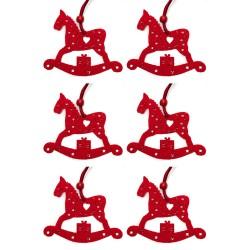 Ozdoby na vianočný stromček 6ks - hojdacie koníky