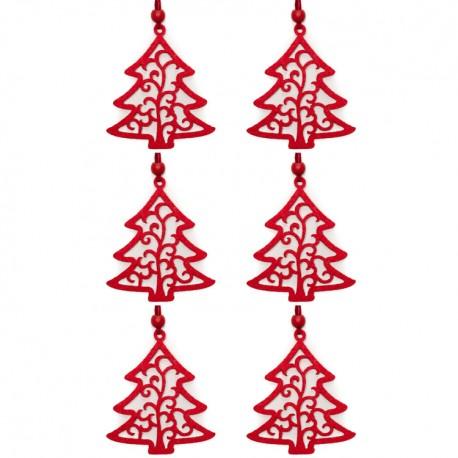 Ozdoby na vianočný stromček 6ks - stromčeky