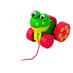 DETOA Drevená hračka na ťahanie - Žabka