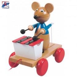 Woody Drevená hračka na ťahanie - Myška s xylofónom