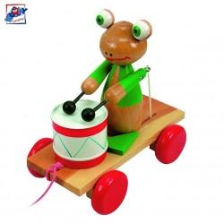 Woody Drevená hračka na ťahanie - Žabka s bubnom