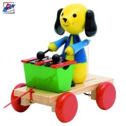 Woody Drevená hračka na ťahanie - Psík s xylofónom