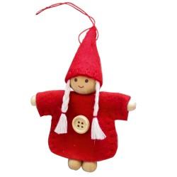 Ozdoba na vianočný stromček - červené dievčatko