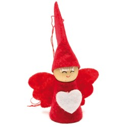 Ozdoba na vianočný stromček z filcu - anjelik červený