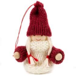 Ozdoba na vianočný stromček - dievčatko bielo-bordové