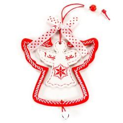 Ozdoba na vianočný stromček  z dreva - anjelik bielo-červený