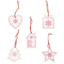 Ozdoby na vianočný stromček 5 ks z dreva - biele
