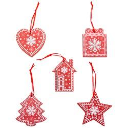 Ozdoby na vianočný stromček 5 ks z dreva - červené