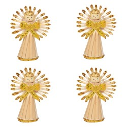 Ozdoby na vianočný stromček zo slamy 4 ks - anjeliky natur+zlaté