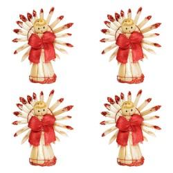 Ozdoby na vianočný stromček zo slamy 4 ks - anjeliky natur+červené