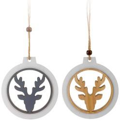 Ozdoby na vianočný stromček z dreva 2 ks - jelenie hlavy