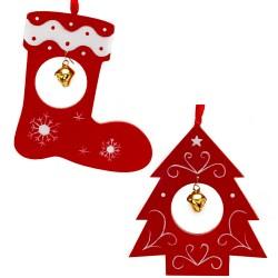 Ozdoby na vianočný stromček z dreva 2 ks - čižma a stromček s roľničkou