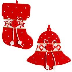 Ozdoby na vianočný stromček z dreva 2 ks - čižma a zvonček
