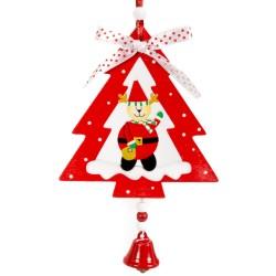 Ozdoba na vianočný stromček z dreva - jeleň s vrecom v stromčeku