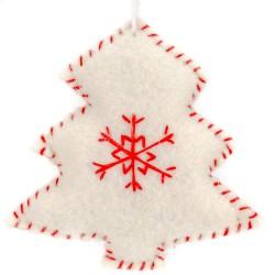 Ozdoba na vianočný stromček z filcu - stromček biely