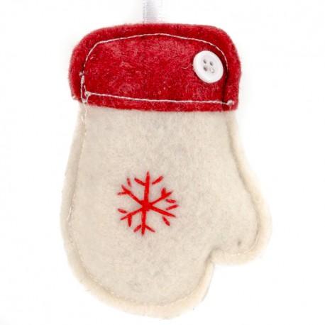 Ozdoba na vianočný stromček z filcu - rukavica