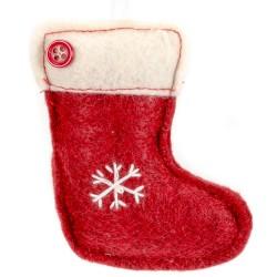 Ozdoba na vianočný stromček z filcu - čižma červená