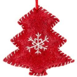 Ozdoba na vianočný stromček z filcu - stromček červený