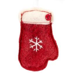 Ozdoba na vianočný stromček z filcu - rukavica červená