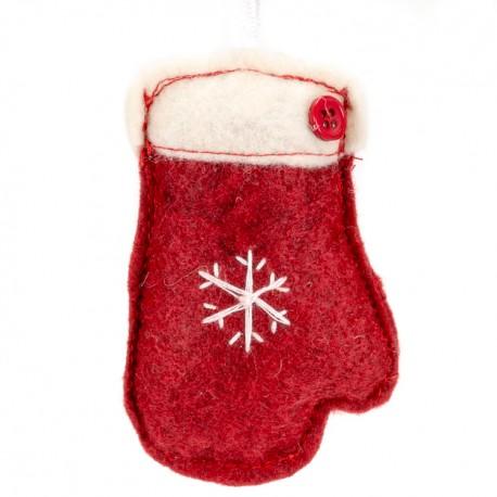 c9beeb715 Ozdoba na vianočný stromček z filcu - rukavica červená - Najhracky.sk