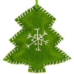 Ozdoba na vianočný stromček z filcu - stromček zelený