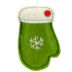 Ozdoba na vianočný stromček z filcu - rukavica zelená