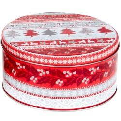 Vianočná plechová dóza - okrúhla 13,5 x 13,5 x 7 cm
