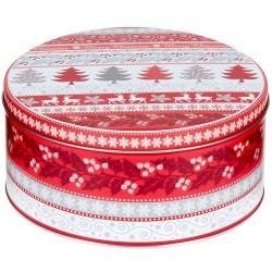 Vianočná plechová dóza - okrúhla 17 x 17 x 8 cm