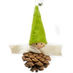 Ozdoba na vianočný stromček - chlapček zelený na šiške
