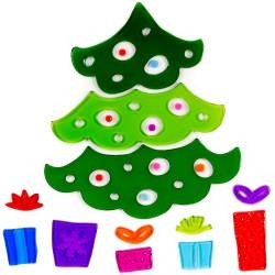 Vianočné nálepky na okno - stromček a darčeky