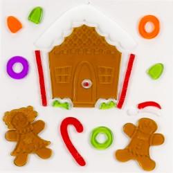Vianočné nálepky na okno - medovníková chalúpka s perníkmi