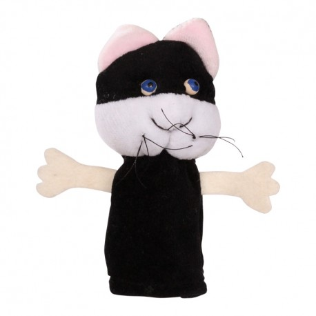 Prstová plyšová maňuška - Mačička čierna