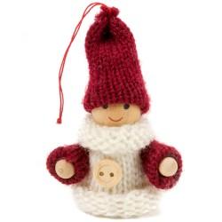 Ozdoba na vianočný stromček - chlapček bielo-bordový