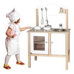 Detská drevená kuchynka - biela s doplnkami