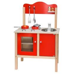 VIGA Detská drevená kuchynka - červená s doplnkami