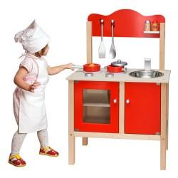 Detská drevená kuchynka - červená s doplnkami